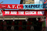 Arsenal v Napoli scarves for sale on the market stalls near the ground during Arsenal vs Napoli, UEFA Europa League Football at the Emirates Stadium on 11th April 2019