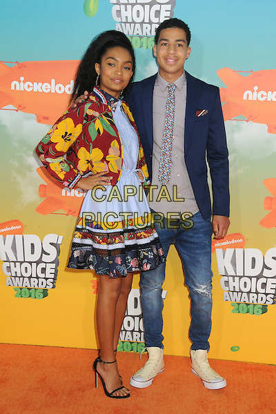 12 March 2016 - Inglewood, California - Yara Shahidi, Marcus Scribner. 2016 Nickelodeon Kids' Choice Awards held at The Forum.  <br /> CAP/ADM/BP<br /> &copy;BP/ADM/Capital Pictures