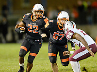 Verona's Jackson Acker runs behind a block by Adam Jindra in front of La Follette's Kavonte Shorter, as Madison La Follette takes on Verona in Wisconsin Big Eight Conference high school football on Friday, 10/4/19 at Verona High School's Curtis Jones Field