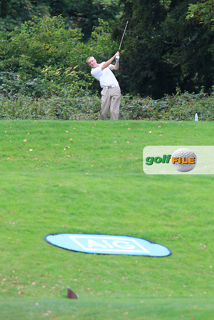 Alan Thomas (Tramore) on the 16th tee during the AIG Senior Cup Final between Tramore &amp; Co. Sligo in the AIG Cups &amp; Shields at Carton House on Saturday 20th September 2014.<br /> Picture:  Thos Caffrey / www.golffile.ie