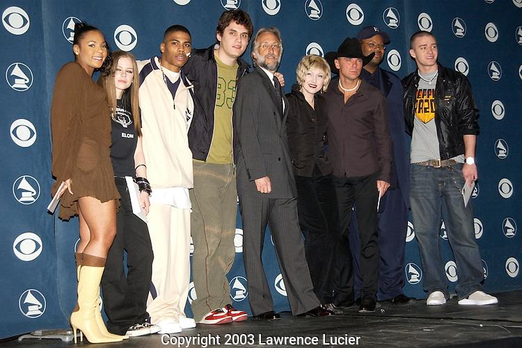 (L to R) Ashanti, Avril Lavigne, Nelly John Mayer, Neil Portnow, Cyndi Lauper, Kenny Chesney, Jimmy Jam, Justin Timberlake