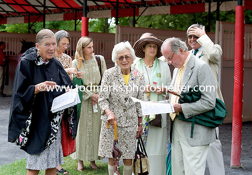 The steeplechase crowd in the paddock before the Calvin Houghland Hurdle at Saratoga.
