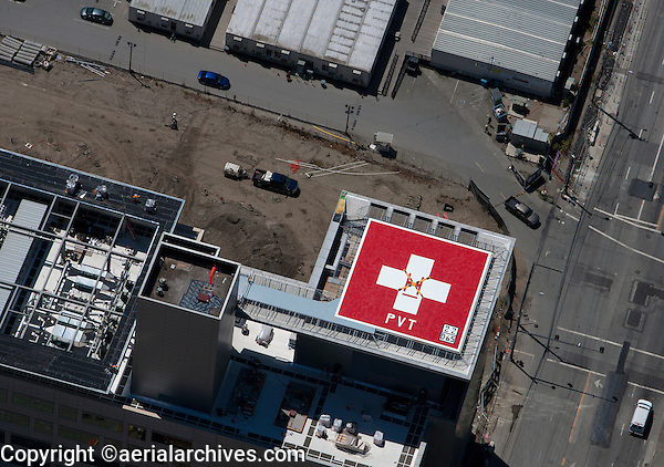 Aerial photograph helipad at UCSF Benioff Children's Hospital