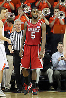North Carolina State forward C.J. Leslie (5) during the game against Virginia Saturday in Charlottesville, VA. Virginia defeated NC State 58-55.