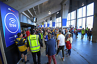 Fans in the concourse during the Super Rugby match between the Hurricanes and Sharks at Sky Stadium in Wellington, New Zealand on Saturday, 15 February 2020. Photo: Dave Lintott / lintottphoto.co.nz