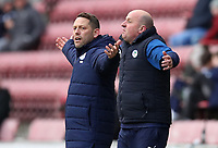 8th February 2020; DW Stadium, Wigan, Greater Manchester, Lancashire, England; English Championship Football, Wigan Athletic versus Preston North End; Wigan Athletic manager Paul Cook reacts after a decision of the referee goes against his team