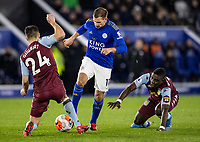 Leicester City's Marc Albrighton (centre) competing with Aston Villa's Frederic Guilbert (left) <br /> <br /> Photographer Andrew Kearns/CameraSport<br /> <br /> The Premier League - Leicester City v Aston Villa - Monday 9th March 2020 - King Power Stadium - Leicester<br /> <br /> World Copyright © 2020 CameraSport. All rights reserved. 43 Linden Ave. Countesthorpe. Leicester. England. LE8 5PG - Tel: +44 (0) 116 277 4147 - admin@camerasport.com - www.camerasport.com