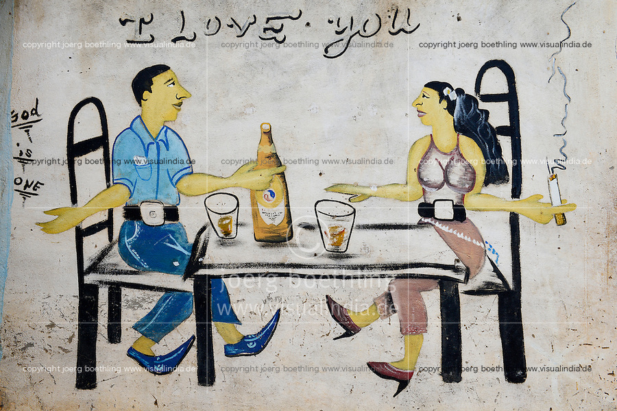 BURKINA FASO, Province Poni, Gaoua, wall painting as advertisement for beer bar, man and woman sitting at table drinking Brakina Beer, the local beer of the brewery in Burkina Faso, slogan I love you and God is one
