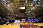 GRAND RAPIDS, MI - MARCH 18: Amherst College lines up during the national anthem before the Division III Women's Basketball Championship held at Van Noord Arena on March 18, 2017 in Grand Rapids, Michigan. Amherst defeated 52-29 for the national title. (Photo by Brady Kenniston/NCAA Photos via Getty Images)