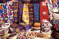 Woven textiles and other Mayan handicrafts for sale in Antigua, Guatemala