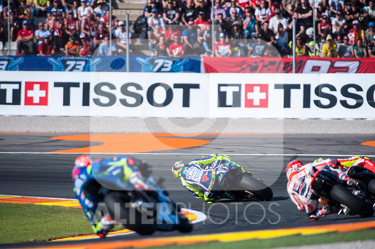 VALENCIA, SPAIN - NOVEMBER 11: Valentino Rossi, Andrea Iannone, Marc Marquez, Maverick Viñales, Andrea Dovizioso during Valencia MotoGP 2016 at Ricardo Tormo Circuit on November 11, 2016 in Valencia, Spain