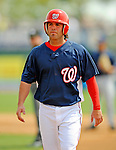 14 March 2008: Washington Nationals' outfielder Garrett Guzman in action during a Spring Training game against the Cleveland Indians at Space Coast Stadium, in Viera, Florida. The Nationals defeated the visiting Indians 8-4 as both teams fielded split squads home and away...Mandatory Photo Credit: Ed Wolfstein Photo