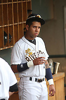 Charleston Riverdogs shortstop Cito Culver #2 in the dugout before a game against the Savannah Sand Gnats at Joseph P. Riley Jr. Park on May 16, 2012 in Charleston, South Carolina. Charleston defeated Savannah by the score of 14-5. (Robert Gurganus/Four Seam Images)