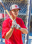 19 September 2015: Washington Nationals infielder Trea Turner awaits his turn in the batting cage prior to a game against the Miami Marlins at Nationals Park in Washington, DC. The Nationals defeated the Marlins 5-2 in the third game of their 4-game series. Mandatory Credit: Ed Wolfstein Photo *** RAW (NEF) Image File Available ***
