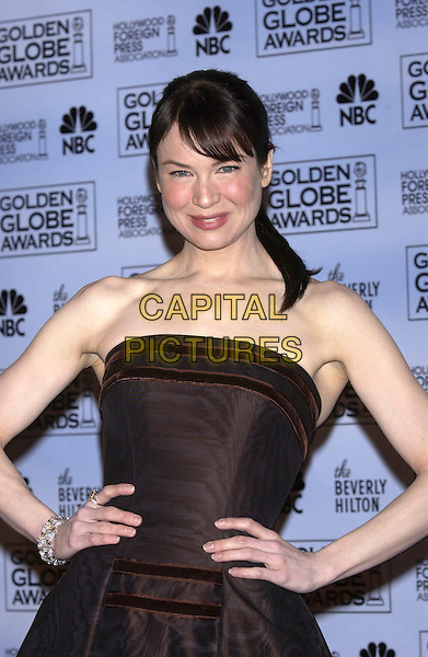 RENEE ZELLWEGER.At the 62nd Annual Golden Globe Awards, Beverly Hilton Hotel, Los Angeles, USA, January 16th 2005.                 .half length strapless black dress fringe.Ref: PL.www.capitalpictures.com.sales@capitalpictures.com.©Capital Pictures.