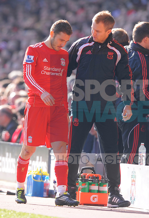 Fabio Aurelio of Liverpool goes off injured