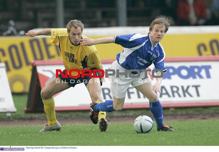 Oberliga Nord  2004/2005  30. Spieltag<br /> <br /> BV Cloppenburg vs BSV Kickers Emden<br /> <br /> Zweikampf Alexander ECKEL / li gegen Alexander GR&divide;GER ( GROEGER ) / Emden<br /> Foto: &copy; nordphoto <br /> <br />  *** Local Caption *** Foto ist honorarpflichtig! zzgl. gesetzl. MwSt.<br />  Belegexemplar erforderlich<br /> Adresse: nordphoto<br /> Georg-Reinke-Strasse 1<br /> 49377 Vechta
