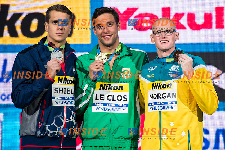 LE CLOS Chad RSA Gold Medal WR<br /> SHIELDS Tom USA Silver Medal<br /> MORGAN David AUS Bronze Medal<br /> Men's 100m Butterfly<br /> 13th Fina World Swimming Championships 25m <br /> Windsor  Dec. 8th, 2016 - Day03 Finals<br /> WFCU Centre - Windsor Ontario Canada CAN <br /> 20161208 WFCU Centre - Windsor Ontario Canada CAN <br /> Photo &copy; Giorgio Scala/Deepbluemedia/Insidefoto