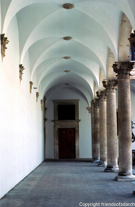 Urbino:  Ducal Palace--Court Loggia.  Photo '83.