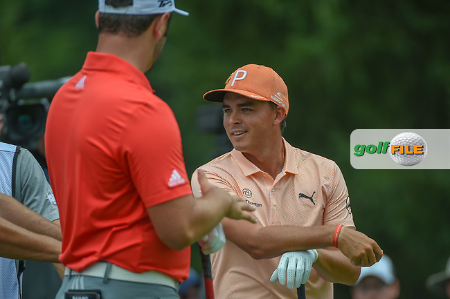 Rickie Fowler (USA) chats with Jon Rahm (ESP) on the 4th tee while they wait to tee off during 4th round of the World Golf Championships - Bridgestone Invitational, at the Firestone Country Club, Akron, Ohio. 8/5/2018.<br /> Picture: Golffile | Ken Murray<br /> <br /> <br /> All photo usage must carry mandatory copyright credit (© Golffile | Ken Murray)