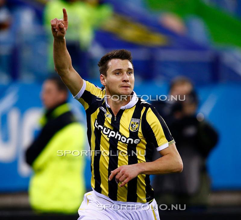 Nederland, Arnhem, 13 februari 2016<br /> Eredivisie<br /> Seizoen 2015-2016<br /> Vitesse-SC Heerenveen <br /> Denys Oliynyk van Vitesse juicht, nadat hij de 1-0 heeft gescoord.