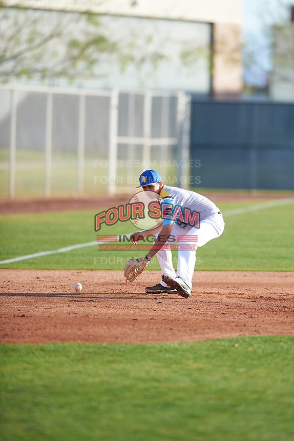 Kyle Anderson (5) of Etiwanda High School in San Bernardino, California during the Baseball Factory All-America Pre-Season Tournament, powered by Under Armour, on January 14, 2018 at Sloan Park Complex in Mesa, Arizona.  (Zachary Lucy/Four Seam Images)
