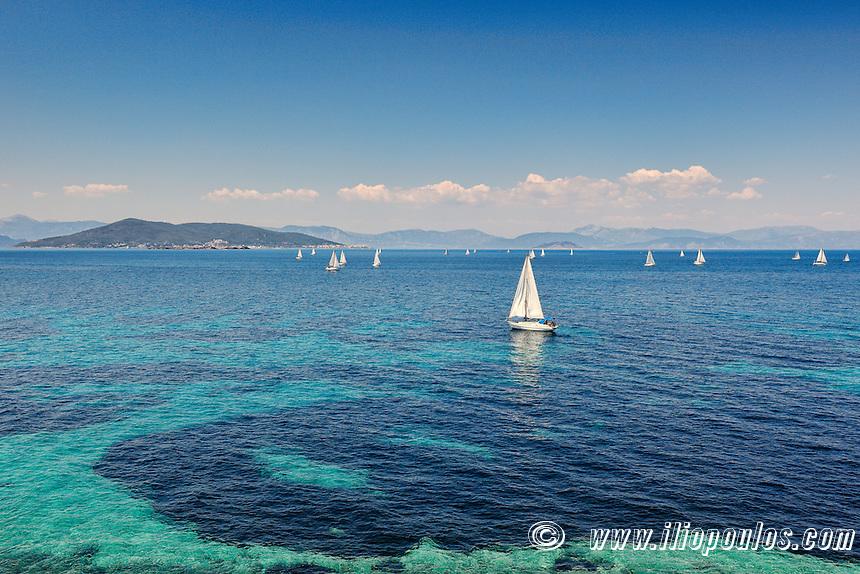 Sail boats near Aegina island, Greece