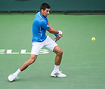 Novak Djokovic (SRB) during the final against Roger Federer (SUI) at the BNP Parisbas Open in Indian Wells, CA on March 22, 2015.