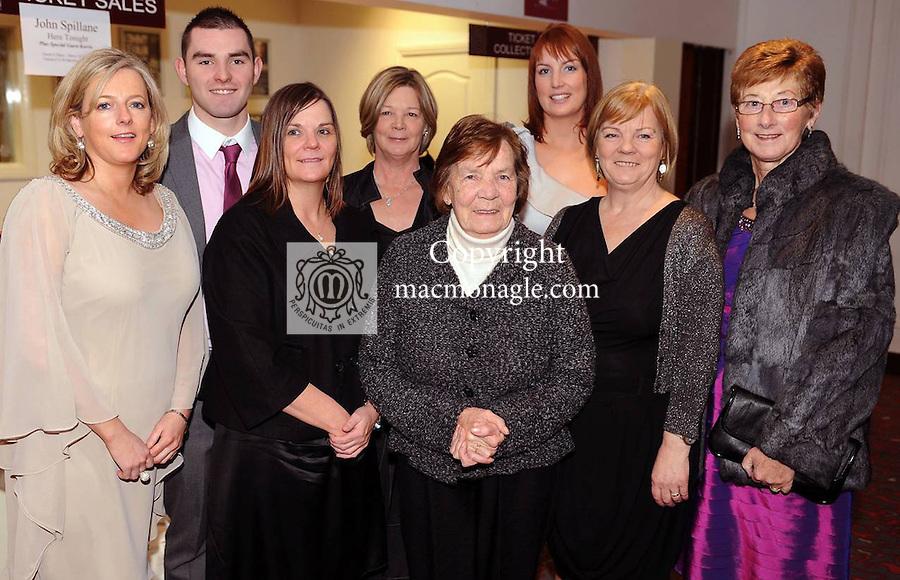 Tara Cronin, Bryan O'Shea, Tracey O'Shea, Margaret Guerin, Bridie O'Shea, Nicola and Sheila Dickson and Dolly O'Halloran at  the Dr Crokes GAA Club Victory Celebration Night at the Inec, Killarney on Friday night. Picture: Eamonn Keogh (MacMonagle, Killarney)