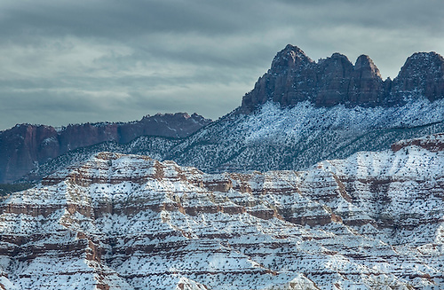Fresh snow has fallen on Gooseberry Mesa near Zion National Park, Utah