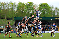 Dom Day rises high to win lineout ball. Amlin Challenge Cup semi-final, between London Wasps and Bath Rugby on April 27, 2014 at Adams Park in High Wycombe, England. Photo by: Patrick Khachfe / Onside Images