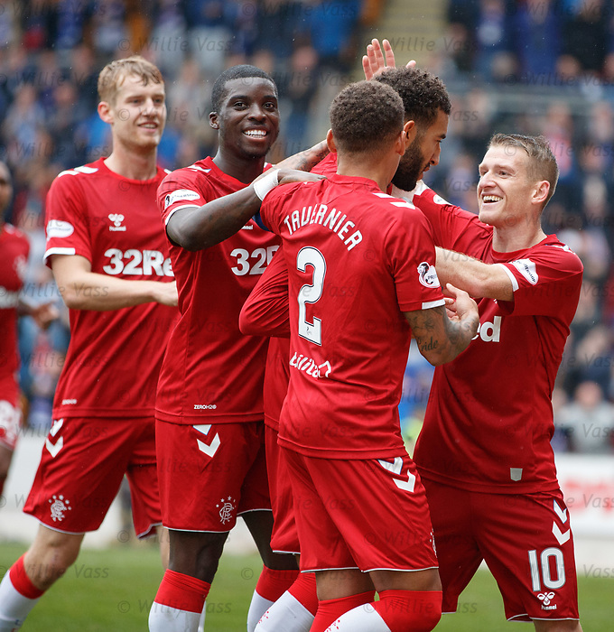 22.09.2019 St Johnstone v Rangers: Steven Davis, Sheyi Ojo, James Tavernier and Filip Helander congratulate Connor Goldson