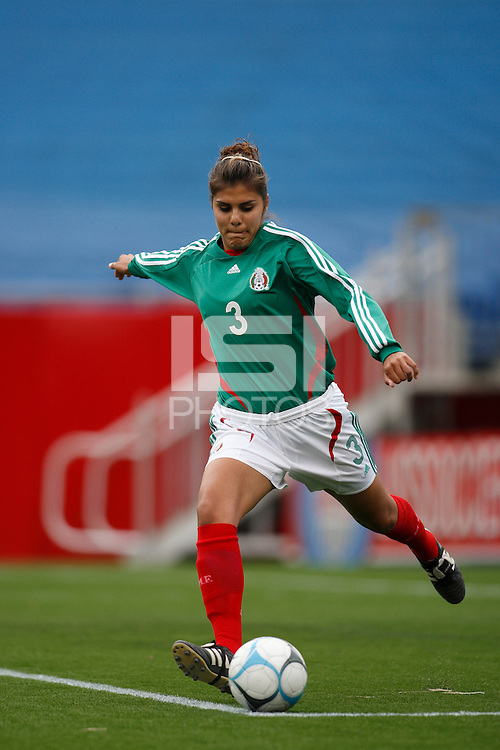 Mexico defender (3) Rubi Sandoval. The USA Women's National Team defeated Mexico 5-0 in an international friendly at Gillette Stadium, Foxbourgh, MA, on April 14, 2007.