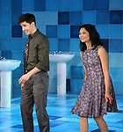 """Justin Long and Tiffany Villarin during the Opening Night Curtain Call for The Vineyard Theatre production of  """"Do You Feel Anger?"""" at the Vineyard Theatreon April 2, 2019 in New York City."""