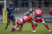 24th March 2018, AJ Bell Stadium, Salford, England; Aviva Premiership rugby, Sale Sharks versus Worcester Warriors; Sam James of Sale Sharks is tackled by David Denton and Ben Te'o of Worcester Warriors