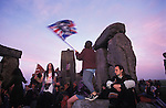 Land rights protesters gain access to Stonehenge on VE day  May,1995 - in response to the  closing off of access to the Stones by English Heritage.