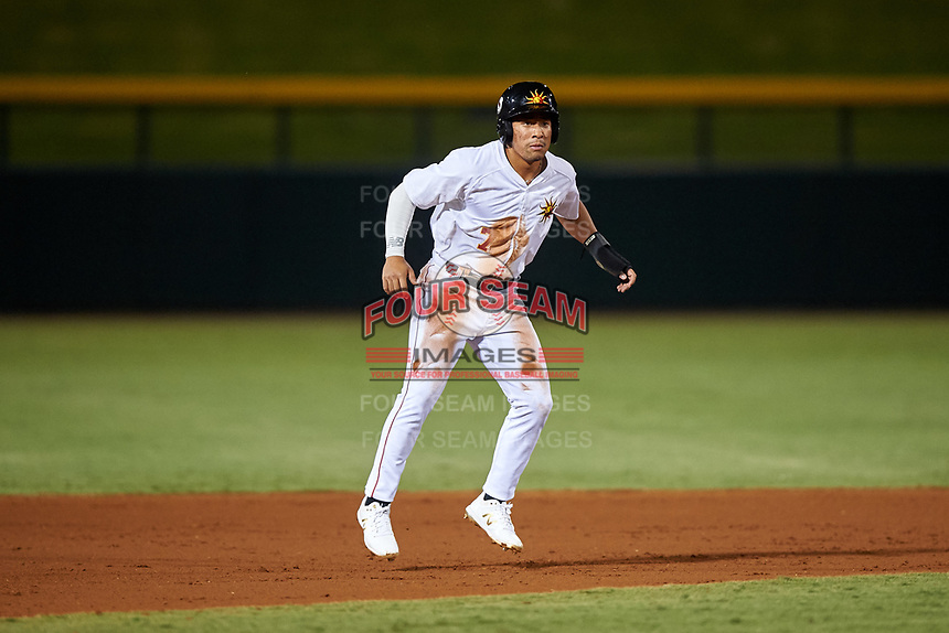 Mesa Solar Sox Jahmai Jones (7), of the Los Angeles Angels organization, leads off second base during an Arizona Fall League game against the Peoria Javelinas on September 21, 2019 at Sloan Park in Mesa, Arizona. Mesa defeated Peoria 4-1. (Zachary Lucy/Four Seam Images)