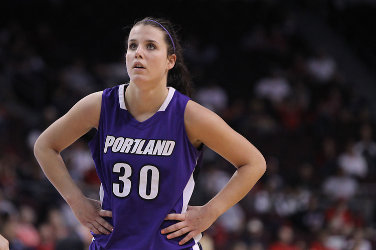 March 6, 2011; Las Vegas, NV, USA; Portland Pilots forward Amy Pupa (30) rests between plays against the Gonzaga Bulldogs during the WCC Basketball Championships semifinal game at Orleans Arena. The Bulldogs defeated the Pilots 96-71.