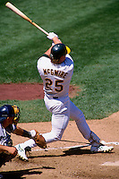 OAKLAND, CA: Mark McGwire of the Oakland Athletics in action during a game at the Oakland Coliseum in Oakland, California in 1996. (Photo by Brad Mangin).