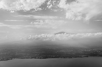 Black and white aerial photo of Mount Etna Volcano, Sicily, UNESCO World Heritage Site, Italy, Europe. This is a black and white aerial photo of Mount Etna Volcano, Sicily, UNESCO World Heritage Site, Italy, Europe.