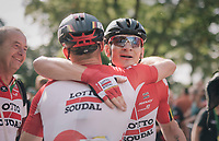 Andr&eacute; Greipel (DEU/Lotto-Soudal) wins stage 4 and is congratulated by teammate<br /> <br /> 15th Ovo Energy Tour of Britain 2018 (2.HC)<br /> Stage 4: Nuneaton to Royal Leamington Spa (183km)