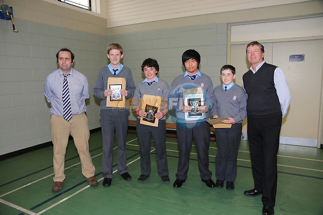 Bernard Sharkey, Louis Flanagan, Alan McGrane, Adrian Federis and Thomas Finnegan and Des Smith Academic achievement award.at the St Josephs CBS awards night..Picture:  www.newsfile.ie
