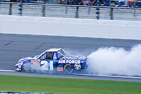 Rookie Kelly Bires in the Air Force/Bush's Baked Beans truck blows an engine on lap 120 during the Nascar Craftsman Truck Series O'Reilly Auto Parts 250 at Kansas Speedway in Kansas City, Kansas on April 28, 2007.