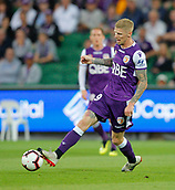 2nd February 2019, HBF Park, Perth, Australia; A League football, Perth Glory versus Wellington Phoenix; Andy Keogh of the Perth Glory passes the ball during the first half