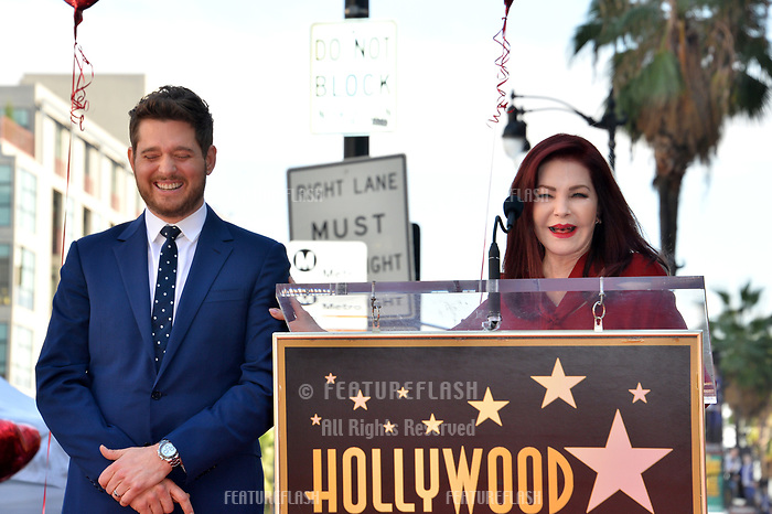 LOS ANGELES, CA. November 16, 2018: Michael Buble &amp; Priscilla Presley at the Hollywood Walk of Fame Star Ceremony honoring singer Michael Bubl&eacute;.<br /> Pictures: Paul Smith/Featureflash