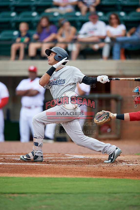 Pulaski Yankees center fielder Everson Pereira (38) follows through on a swing during a game against the Greeneville Reds on July 27, 2018 at Pioneer Park in Tusculum, Tennessee.  Greeneville defeated Pulaski 3-2.  (Mike Janes/Four Seam Images)