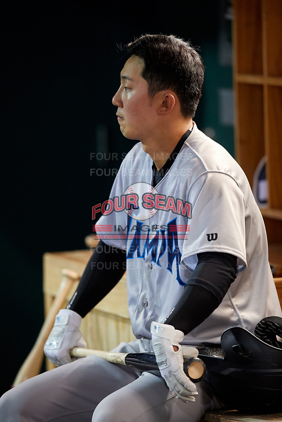 Tampa Tarpons second baseman Hoy Jun Park (1) in the dugout during a game against the Lakeland Flying Tigers on April 5, 2018 at Publix Field at Joker Marchant Stadium in Lakeland, Florida.  Tampa defeated Lakeland 4-2.  (Mike Janes/Four Seam Images)