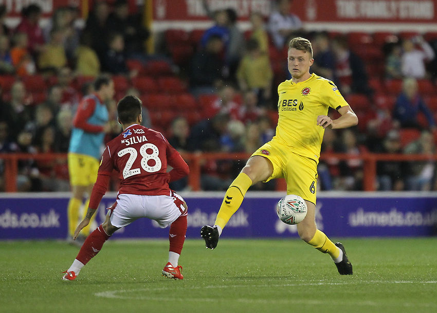 Fleetwood Town's Harry Souttar battles with Nottingham Forest's Tiago Silva<br /> <br /> Photographer Mick Walker/CameraSport<br /> <br /> The Carabao Cup First Round - Nottingham Forest v Fleetwood Town - Tuesday 13th August 2019 - The City Ground - Nottingham<br />  <br /> World Copyright © 2019 CameraSport. All rights reserved. 43 Linden Ave. Countesthorpe. Leicester. England. LE8 5PG - Tel: +44 (0) 116 277 4147 - admin@camerasport.com - www.camerasport.com