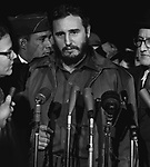 Communist leader Fidel Castro arriving at National Airport in Washington, D.C. from Havana, Cuba on April 15, 1959, just four months after leading a successful revolution in Cuba. Photo by Warren K. Leffler.