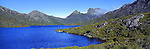 Australia Panorama - Dove Lake at Cradle Mountain in Tasmania, Australia.<br />